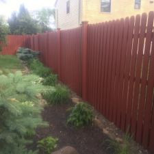 Residential exterior cedar fence painting on druid hill dr in parsippany nj 0010