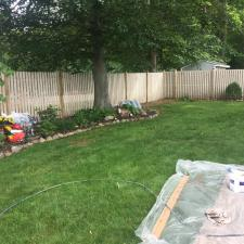 Residential exterior cedar fence painting on druid hill dr in parsippany nj 002