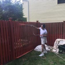 Residential exterior cedar fence painting on druid hill dr in parsippany nj 003