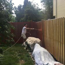 Residential exterior cedar fence painting on druid hill dr in parsippany nj 004