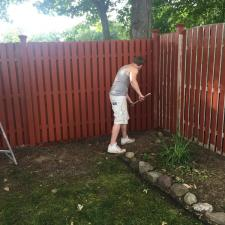 Residential exterior cedar fence painting on druid hill dr in parsippany nj 005