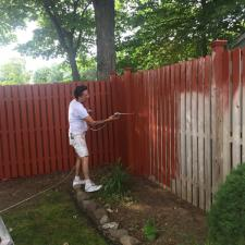 Residential exterior cedar fence painting on druid hill dr in parsippany nj 006