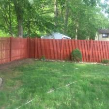 Residential exterior cedar fence painting on druid hill dr in parsippany nj 007