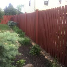 Residential exterior cedar fence painting on druid hill dr in parsippany nj 009